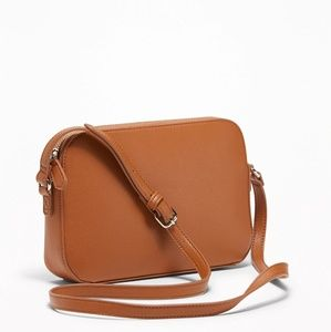 Old Navy Cognac Faux Leather Crossbody